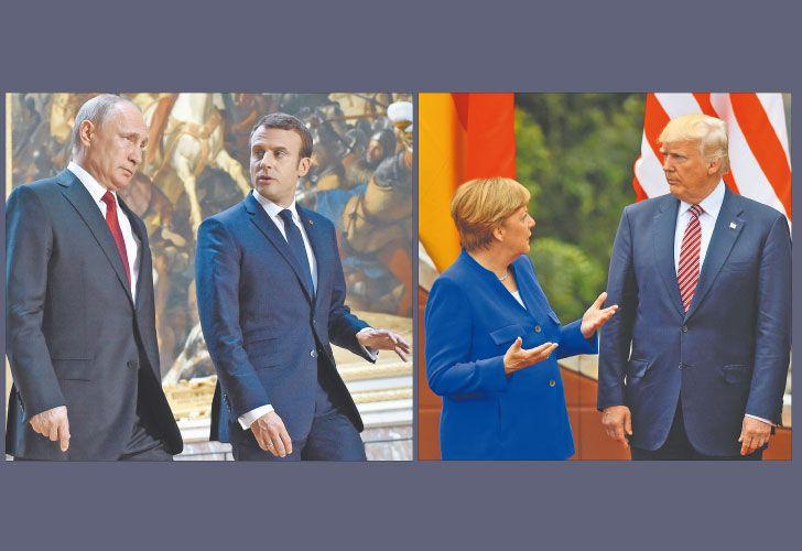 Coordinados. En los últimos días, Macron y Merkel se cruzaron con Putin y Trump y coincidieron en un libreto de declaraciones públicas para diferenciarse de ellos en temas como terrorismo, integración y cambio climático.