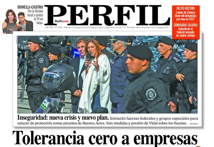Portada en detalle del diario PERFIL.