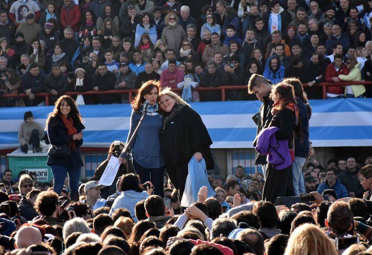 Cristina Fernández de Kirchner en el acto del estadio de Arsenal