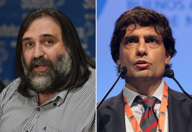 El titular de SUTEBA, Roberto Baradel y el ministro de Economía de la provincia de Buenos Aires, Hernán Lacunza.