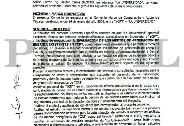 Detalle de los documentos del caso UTN-Yacimientos Carboníferos de Río Turbio.