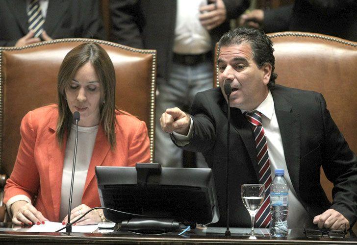 La gobernadora María Eugenia Vidal y su ministro de seguridad, Cristian Ritondo.