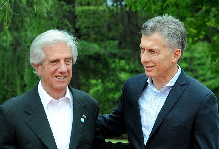 Presidentes. Tabaré Vázquez y Macri, cuando se reunieron en Parque Anchorena. Allí empezaron a delinear la postulación.