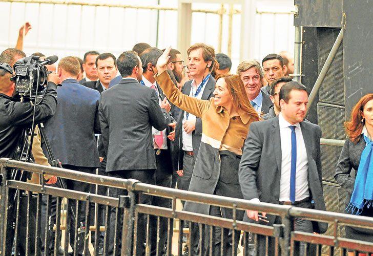 Gobernadora. Suspendió un acto para acompañar a Macri.