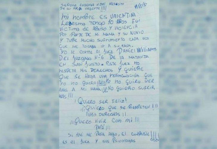 La menor de 10 años le envió una carta a la gobernadora bonaerense para pedirle ayuda.