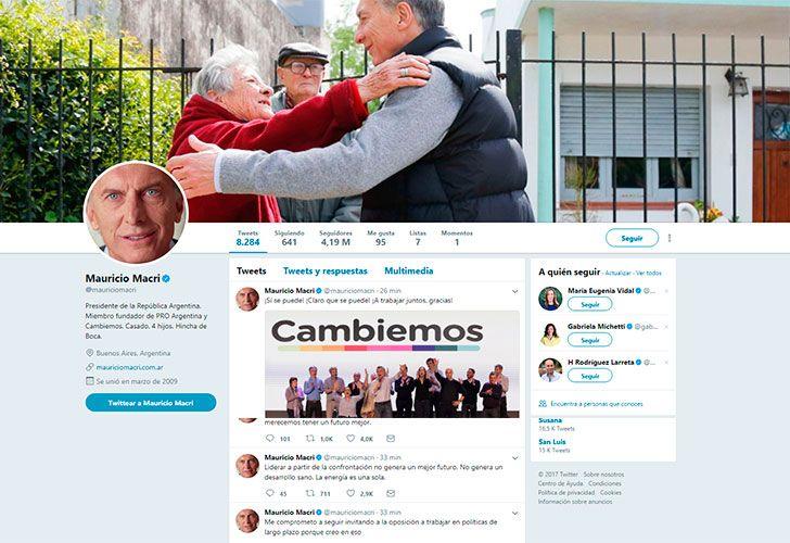 Twitter de Mauricio Macri