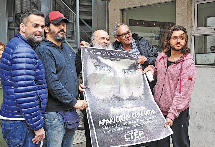 Dirigentes. Menéndez, Grabois, Onorato, Mariño y Pérsico también pidieron por Santiago Maldonado.