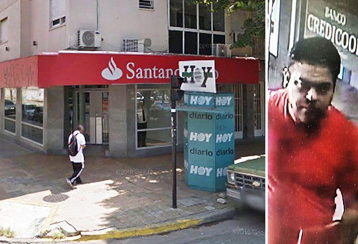 """En acción. Alias """"el Oso"""" fue filmado en dos atracos: en el golpe al Santander Río de La Plata y haciento inteligencia en el Credicoop de San Francisco Solano."""