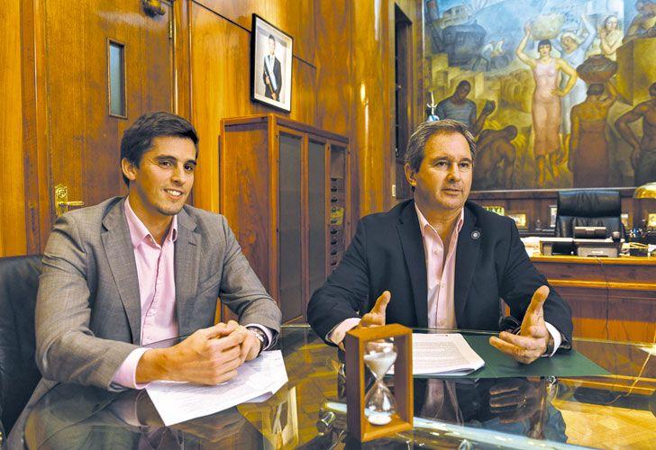 Al frente. Morea, de la Unidad PPP, y Quirno, jefe de Gabinete de la cartera que lidera Caputo.
