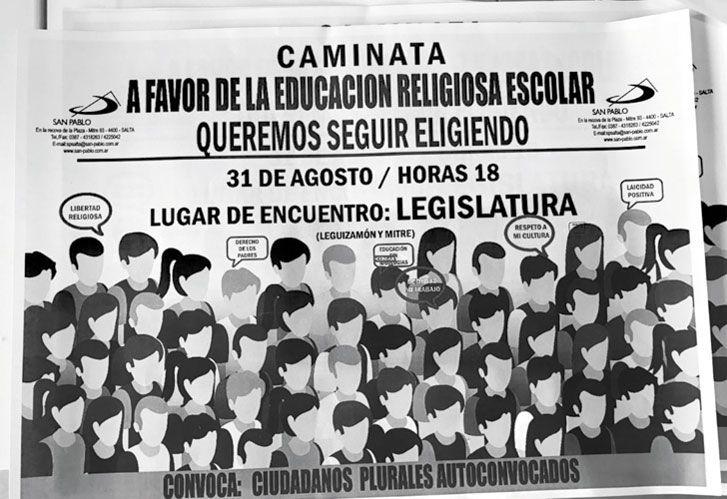 Llamado. A una de las marchas en apoyo a la enseñanza de religión en las escuelas.