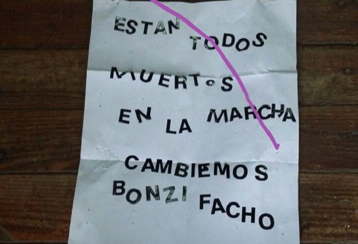 La carta con la amenaza a Macri y a María Eugenia Vidal
