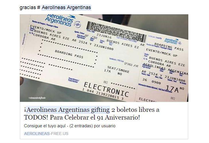 Estafa en Facebook: publicaciones falsas prometen pasajes de avión gratis