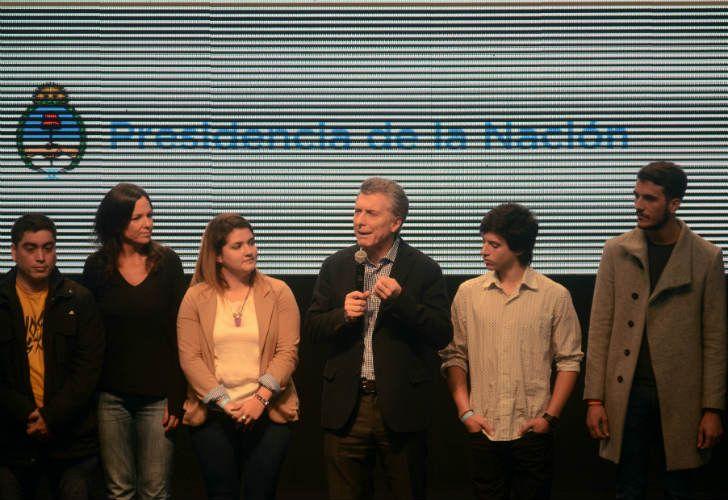 Mauricio Macri en Tecnópolis en una charla de microcréditos a jóvenes emprendedores.
