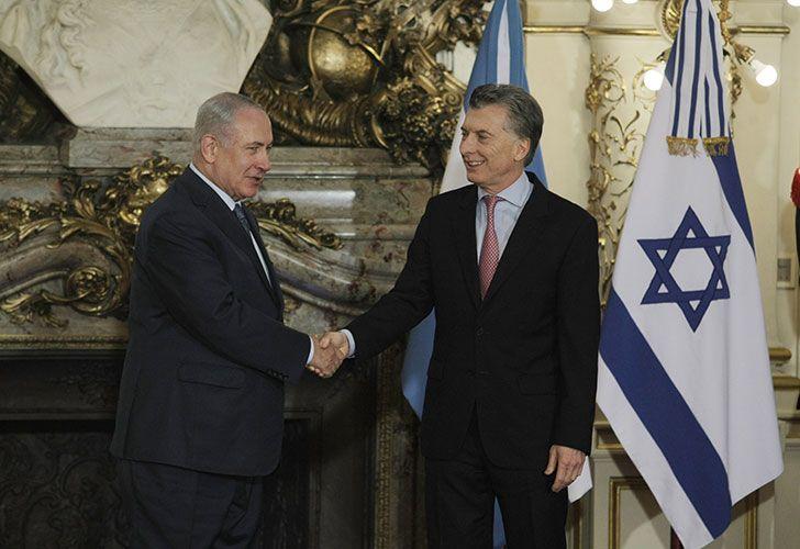 El presidente Mauricio Macri recibe al Primer Ministro de Israel, Benjamín Netanyahu en casa de gobierno.