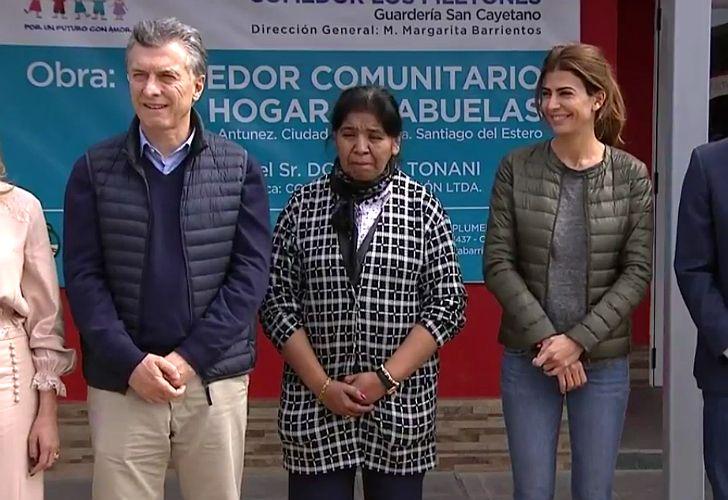 Mauricio Macri y Juliana Awada junto a Margarita Barrientos en Santiago del Estero.
