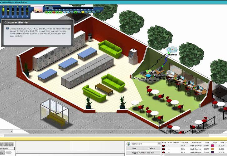 Un juego interactivo en la Cisco NetworkingAcademy (CNA) permite diseñar redes y competir con otros estudiantes alrededor del mundo.