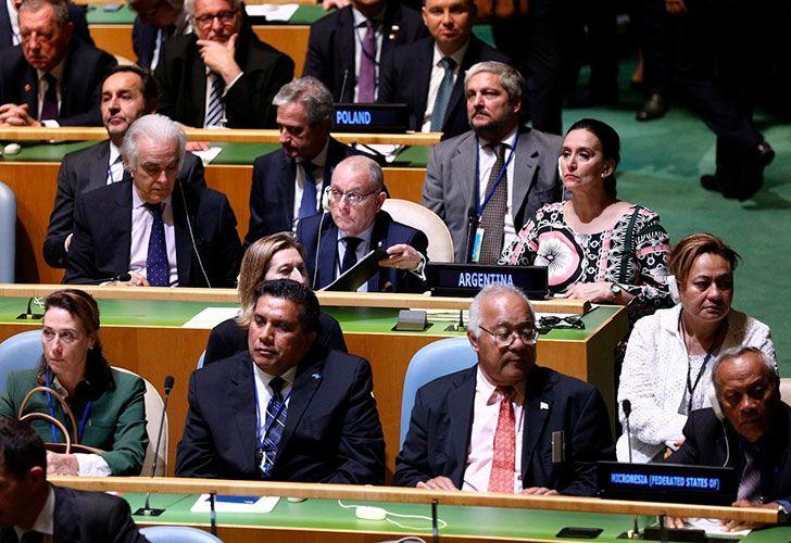Gabriela Michetti con la delegación argentina en la apertura de la Asamblea General de la ONU