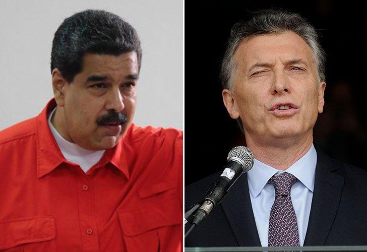El presidente Mauricio Macri y su par venezolano, Nicolás Maduro.