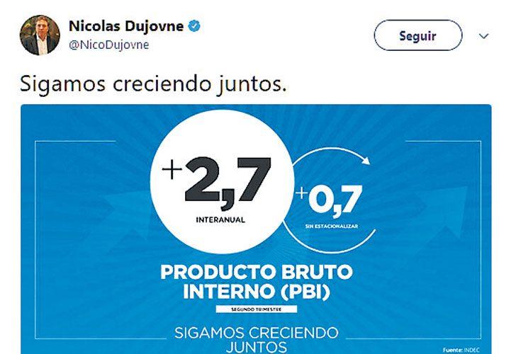TUITERO. Videos, GIFs y streaming: el ministro Dujovne se apoya en todos los formatos para empujar las cifras del PBI y los brotes verdes.