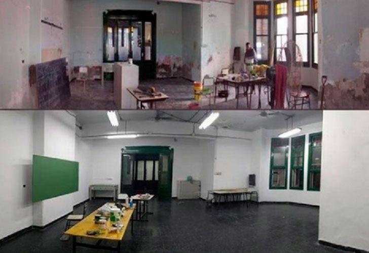 Los alumnos del Colegio Fader de Flores aprovecharon los días de toma para hacer arreglos en la institución.
