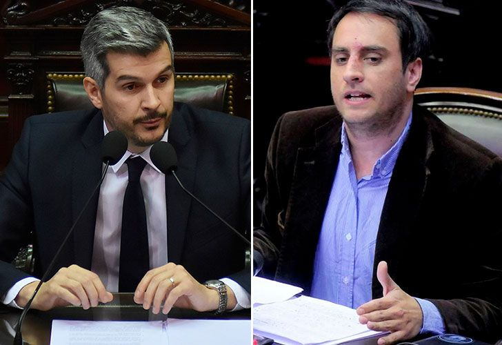 El jefe de gabinete Marcos Peña se cruzó con el diputado del FpV, Juan Cabandié.