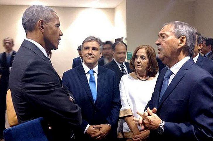 MAGNETISMO. Barack Obama cerró la Cumbre Verde y mantuvo una breve reunión con Schiaretti y un grupo de invitados por el gobernador.