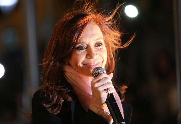 Cristina Fernández de Kirchner en un acto en Merlo.