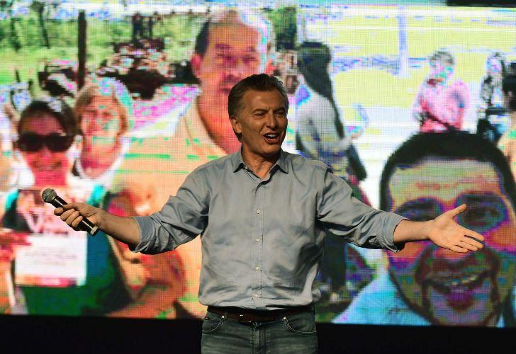 El presidente Macri festejó en el búnker de Cambiemos.