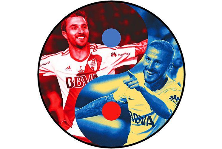 Las dos caras de la moneda. Scocco y Benedetto. Grite quien grite los goles, los sponsors se aseguraron estar en la foto.