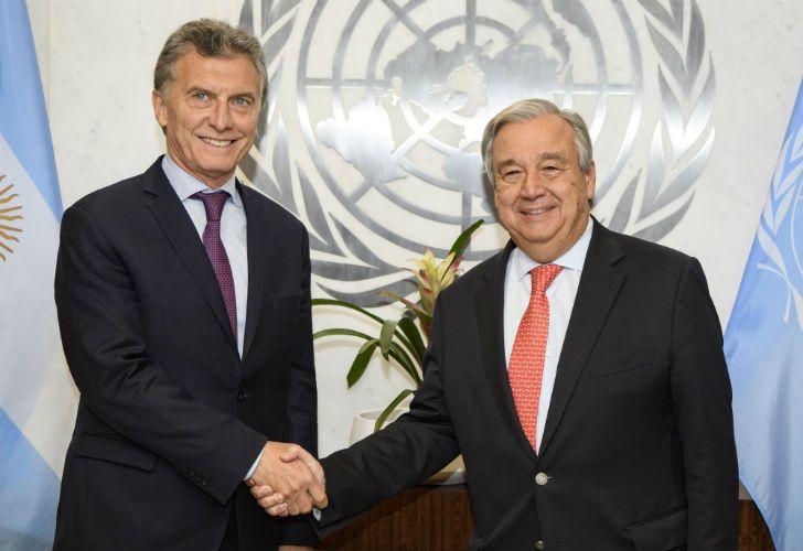 Mauricio Macri junto a Antonio Guterres.