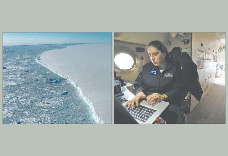 En marcha. La misión fotografió la barrera Larsen C (izq.). Eugenia De Marco, la ingeniera argentina que forma parte de IceBridge, a bordo de la aeronave P-3. (der.).