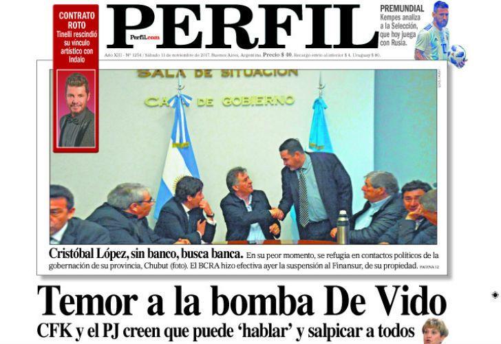 La tapa del diario Perfil del sábado 11 de noviembre de 2017.
