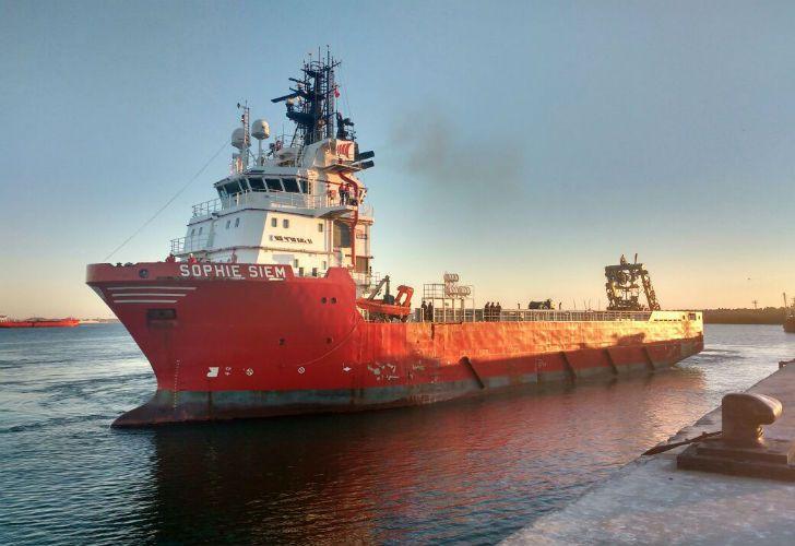 El buque noruego Sophie Siem, que partió el 26 de noviembre al rescate del ARA San Juan.