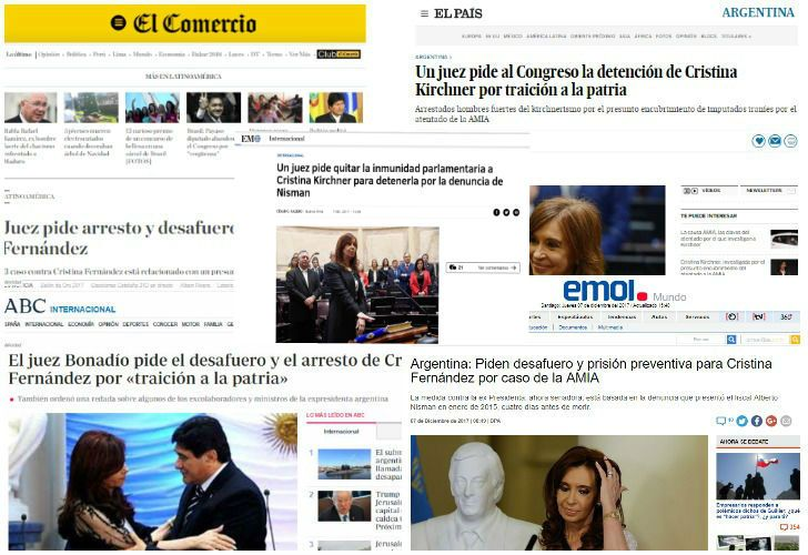 Portadas de diferentes medios del mundo reflejan el pedido de desafuero y prisión preventiva del juez Claudio Bonadio contra la expresidenta Cristina Fernández de Kirchner.