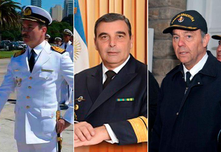 Capitán Claudio Villamide, contraalmirante Luis López Mazzeo y el contralmirante Gabriel González