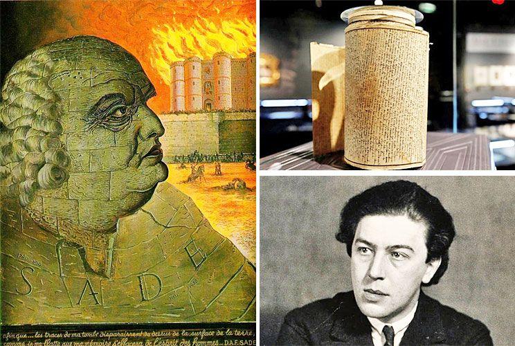 Tesoros. El marqués de Sade visto por Salvador Dalí (arriba), el rollo manuscrito de Los 120 días de Sodoma y una fotografía de André Bretón debida a Man Ray.