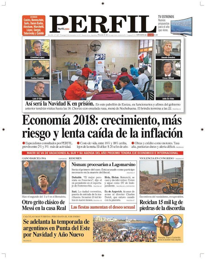 La tapa del diario Perfil domingo 23 de diciembre de 2017