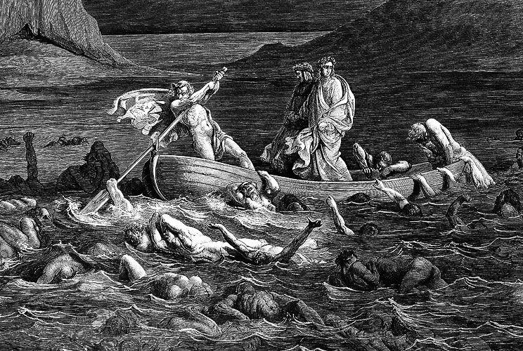 RIO FLEGETONTE. El Dante, camino al infierno según Doré.