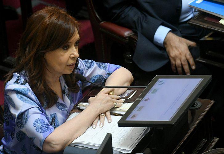 Cristina Fernández de Kirchner, senadora en su primera sesión en el nuevo período legislativo.