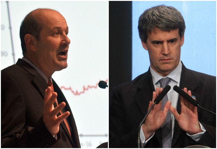 El titular del Banco Central, Federico Sturzenegger y el exministro de Hacienda, Alfonso Prat Gay.