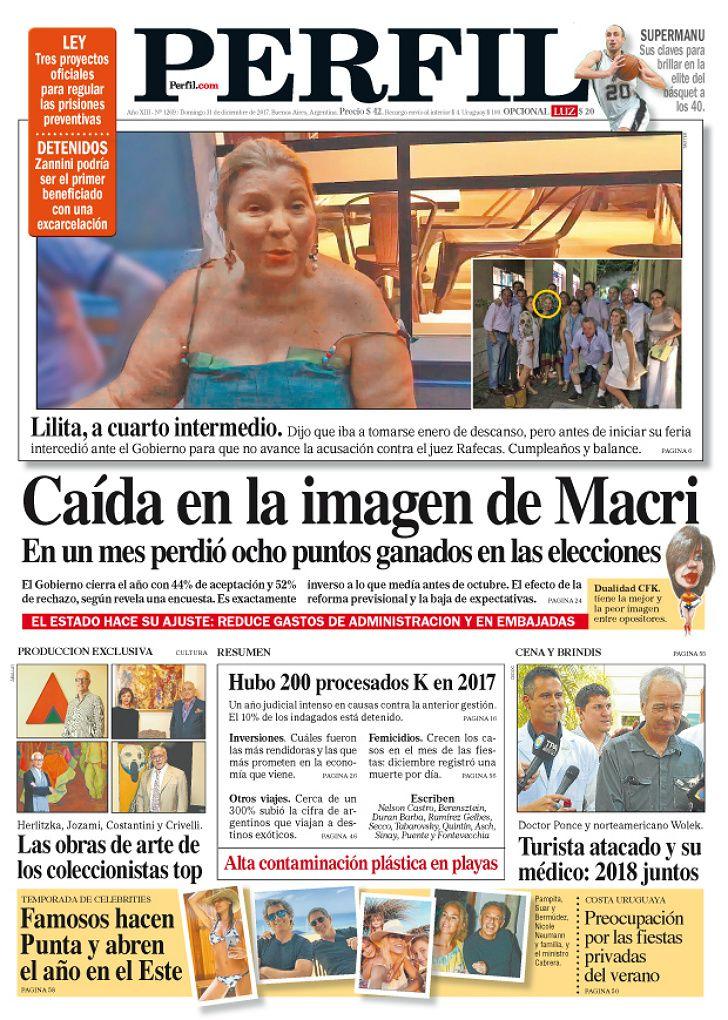 Portada del domingo 31 de diciembre del Diario PERFIL.