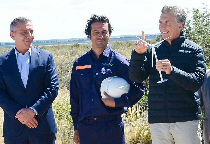 Mauricio Macri recorrió las obras de ampliación del Parque Eólico Rawson junto al gobernador Mariano Arcioni.