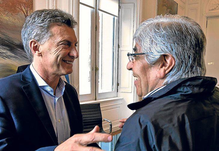 Mauricio Macri y Hugo Moyano en Casa Rosada, en febrero de 2016
