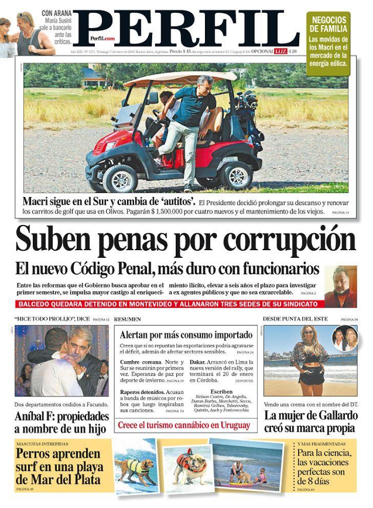 Portada del diario Perfil del domingo 7 de enero de 2018.