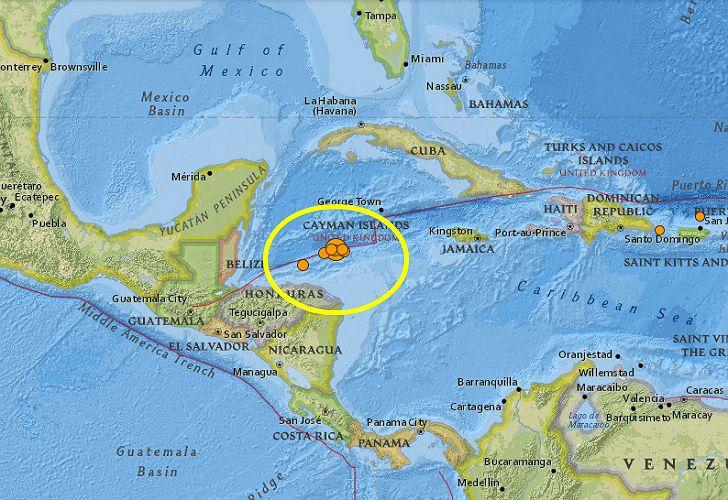 El sismo tuvo su epicentro mar adentro, entre Honduras e Islas Caimán.