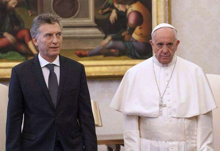 Mauricio Macri junto a Francisco en su única visita al Vaticano como presidente.