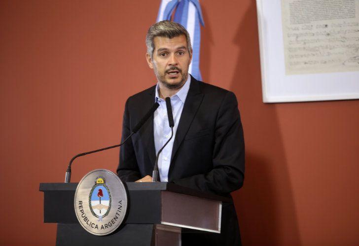 El jefe de gabinete Marcos Peña luego de la primera reunión de gabinete del año, que se desarrolló en el Salón Eva Perón de Casa de Gobierno.