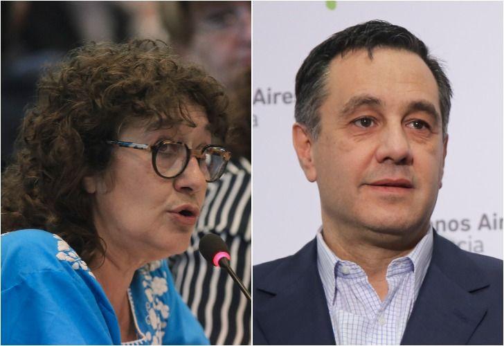 Izquierda. La titular de Ctera, Sonia Alesso. Derecha. El ministro de Educación, Alejandro Finocchiaro.