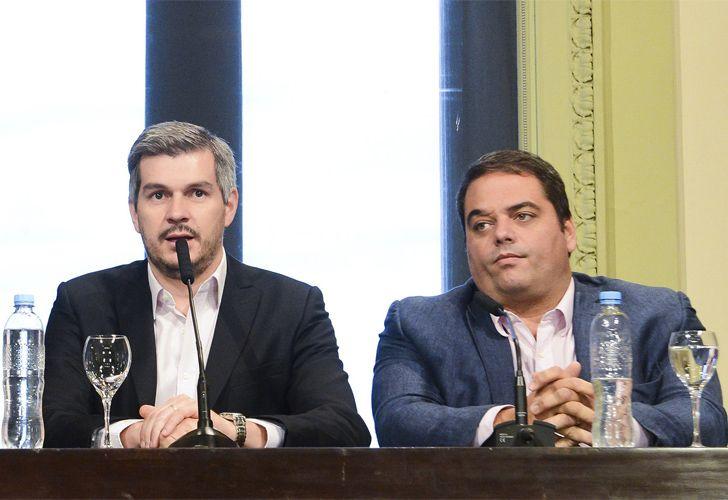 Marcos Peña y Jorge Triaca, en conferencia de prensa (archivo)