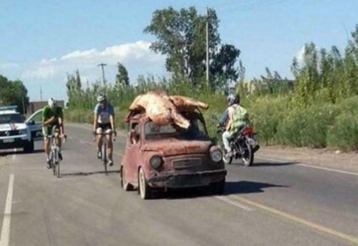 Luego de que un camión se volcara, las personas se llevaron la carne hasta en los techos de los autos